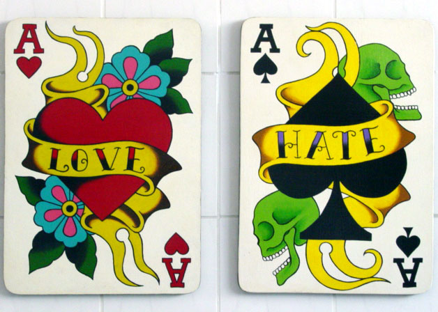 love and hate playing cards