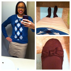 T-shirt and sweater from Target. Skirt from Old Navy. Tights from Target. Shoes from Payless.