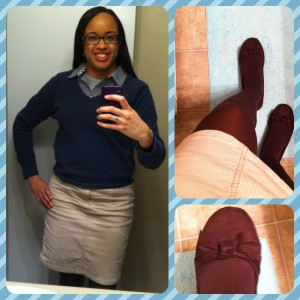 Blouse, sweater, and corduroy skirt from Old Navy. Tights from Target. Shoes from American Eagle brand at Payless. Click for full size.