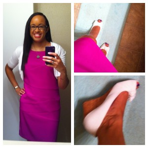 Dress from Kohl's. Bolero jacket from Target. Shoes from Payless.