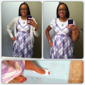 Dress from Target's Converse collection. Undershirt from Target. Sweater probably from Kohl's. Shoes from Payless.