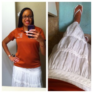 Top is my work polo. Skirt from Old Navy. Unintended flip-flops also from Old Navy.