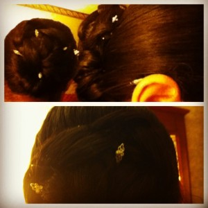 Kat's mom (mother of the bride) had the bobby pins. They're a little sparkly and a little pearly, just like my jewelry.