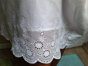 Skirt detail. The outer shell is lace, but there is an opaque inner lining.