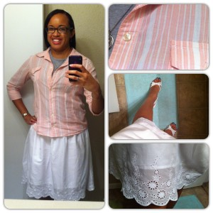 Blouse from Old Navy. Grey shell from Funky Frum. Skirt from Old Navy. Shoes from Payless.