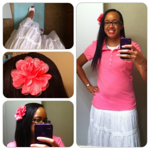 Polo from Aeropostale Outlet. Skirt from Old Navy. Shoes from Payless. Flower pin from HEB.