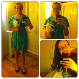 I did not catch the bouquet; I was just a bridesmaid who kept hers from the ceremony. I also did not take them to church. Awkward! Dress from Target, camisole from Old Navy, shoes from Payless.