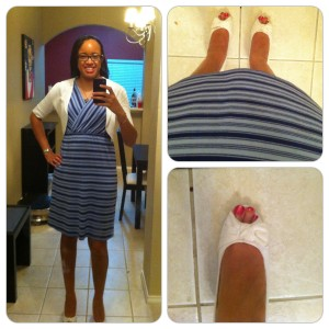 Dress and white bolero from Target, black camisole from Old Navy, shoes from Payless.