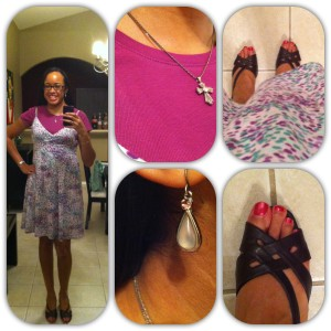 Dress and undershirt from Old Navy. Shoes from DSW (I think). Earrings and necklace were gifts.