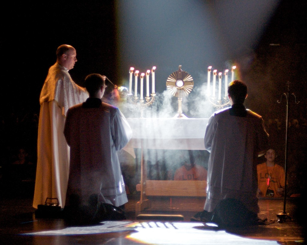 "Eucharistic adoration. Just don't call it ""capital-T tradition."""