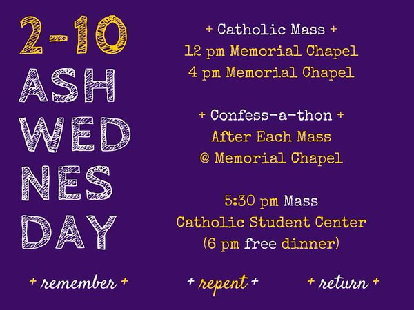 2-10  Ash Wednesday Mass and Confession Times