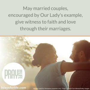 """May married couples, encouraged by Our Lady's example, give witness to faith and love through their marriages."" —9 Days for Life"