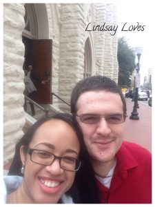 Me and Mr. Man outside of St. Patrick Cathedral in Ft. Worth.