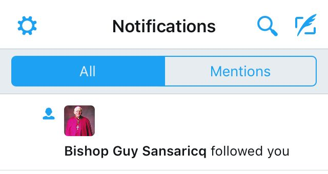 """Bishop Guy Sansaricq followed you."""