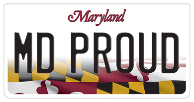 """MD PROUD"" license plate"