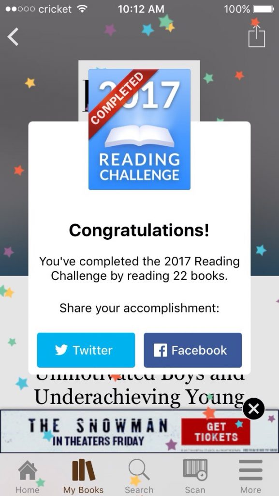 I completed my 22 book challenge.