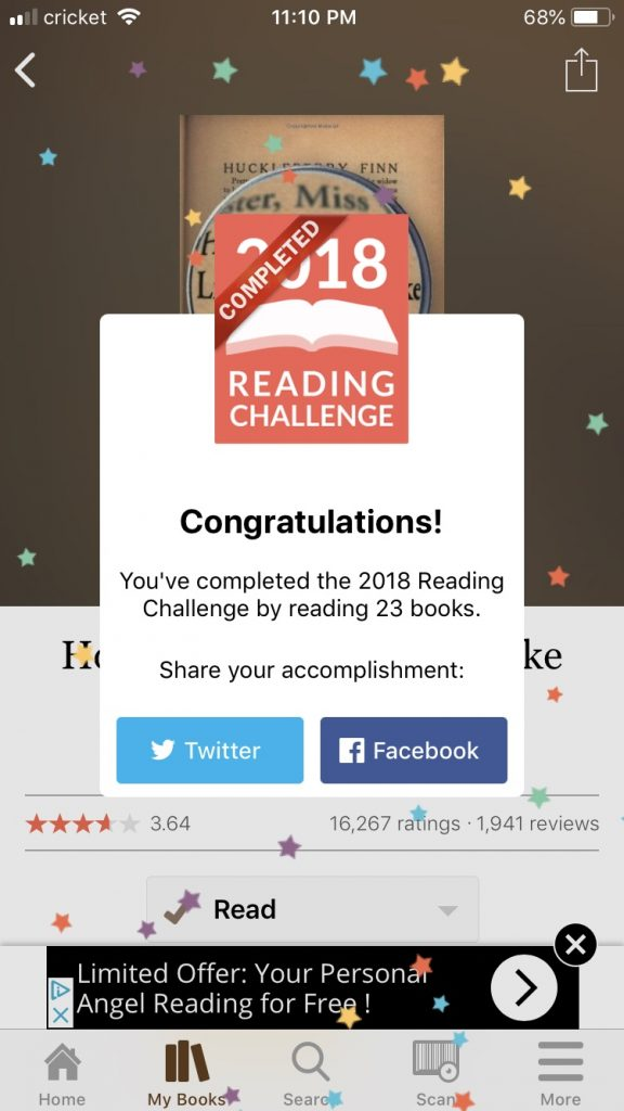 I finished my 2018 challenge by reading 23 books!